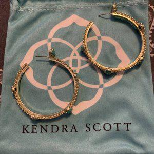 Kendra Scott Unique Gold & Turquoise Hoop Earrings